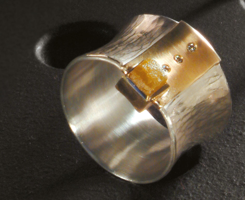 Ring Silber, Gold, Brillant
