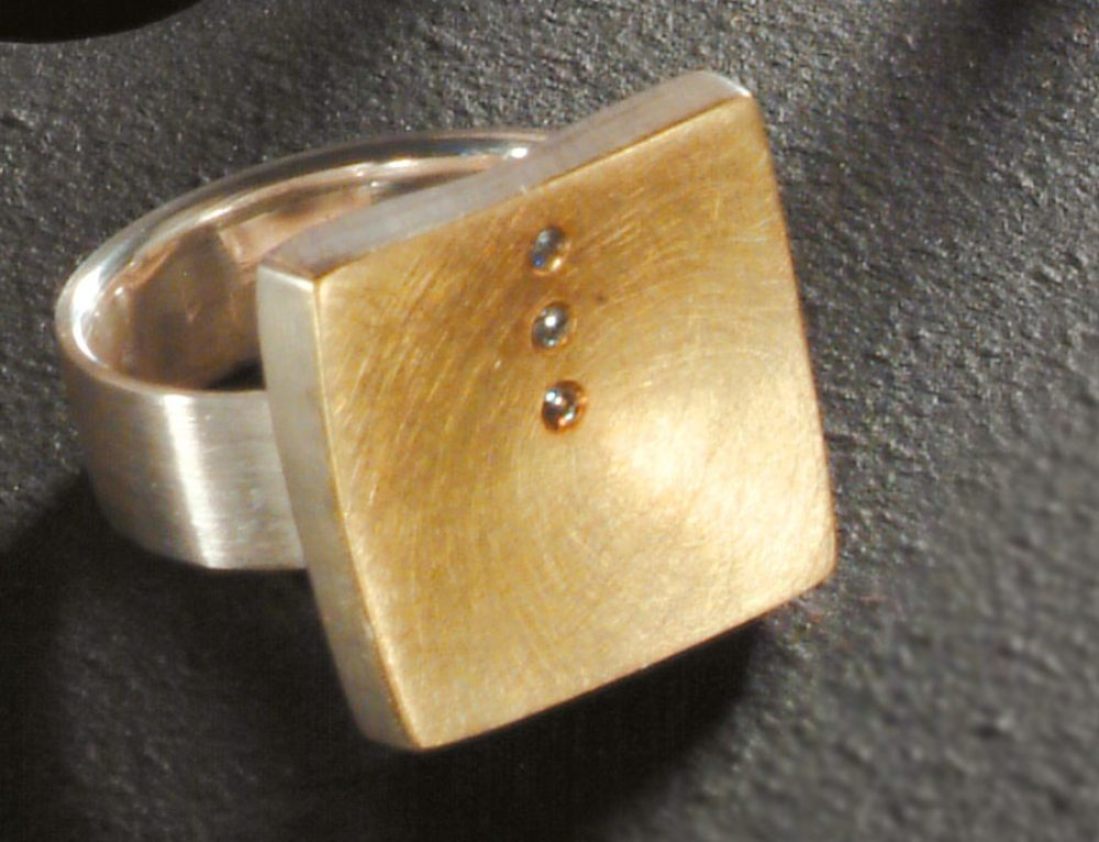 Ring Silber mit Gold und Brillant